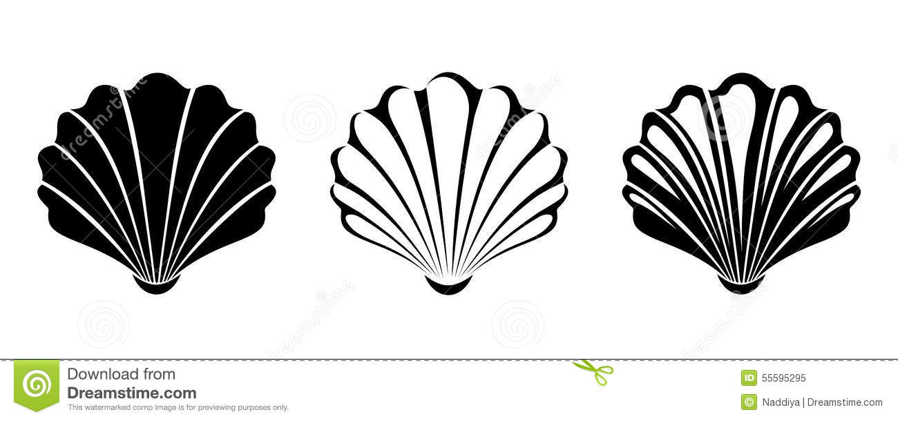 Set Of Sea Shells. Vector Black Silhouettes. Stock Vector - Image ...