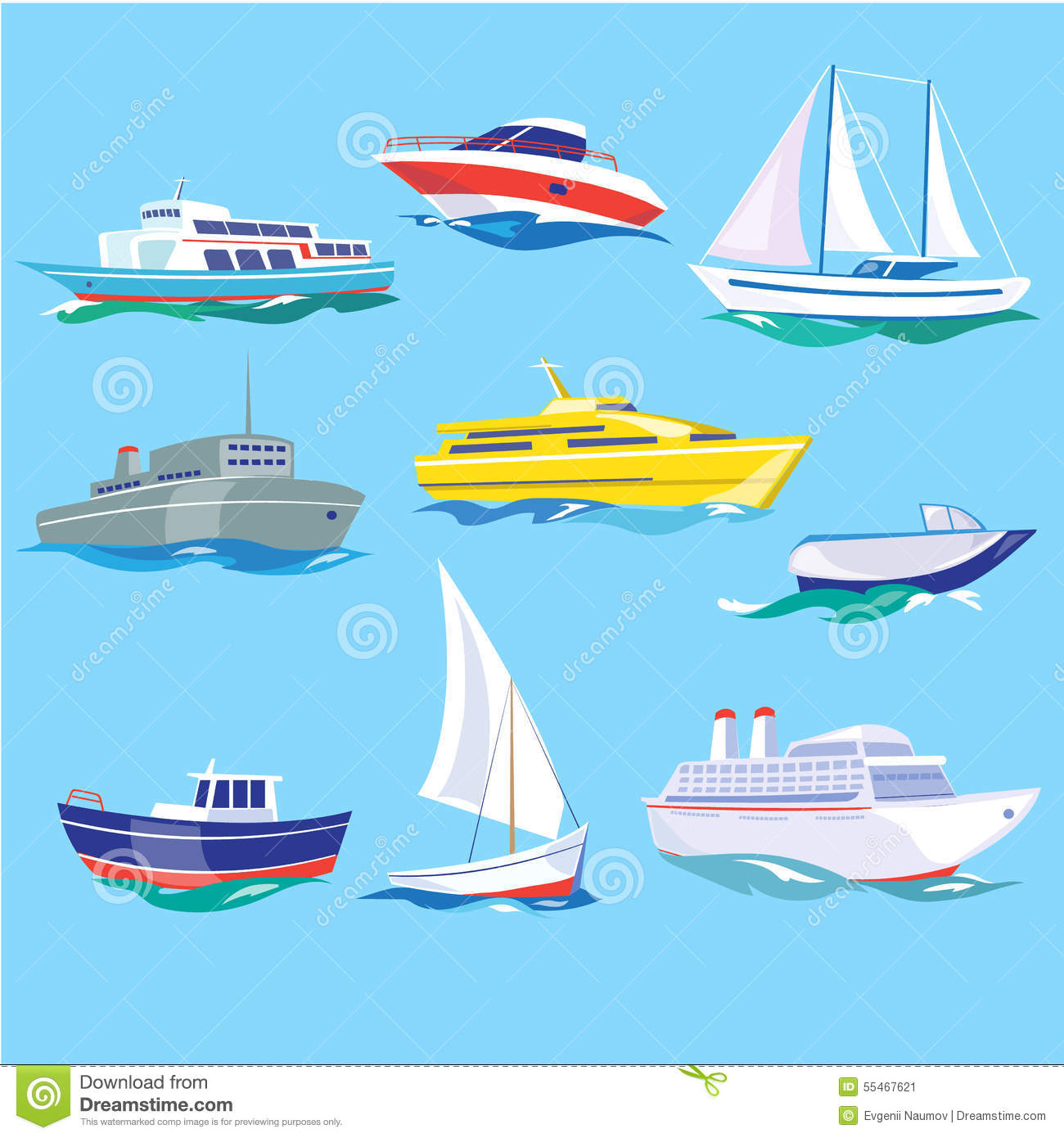 Set Of Sea Ships Water Carriage And Maritime Stock Vector - Illustration of passenger, marine ...