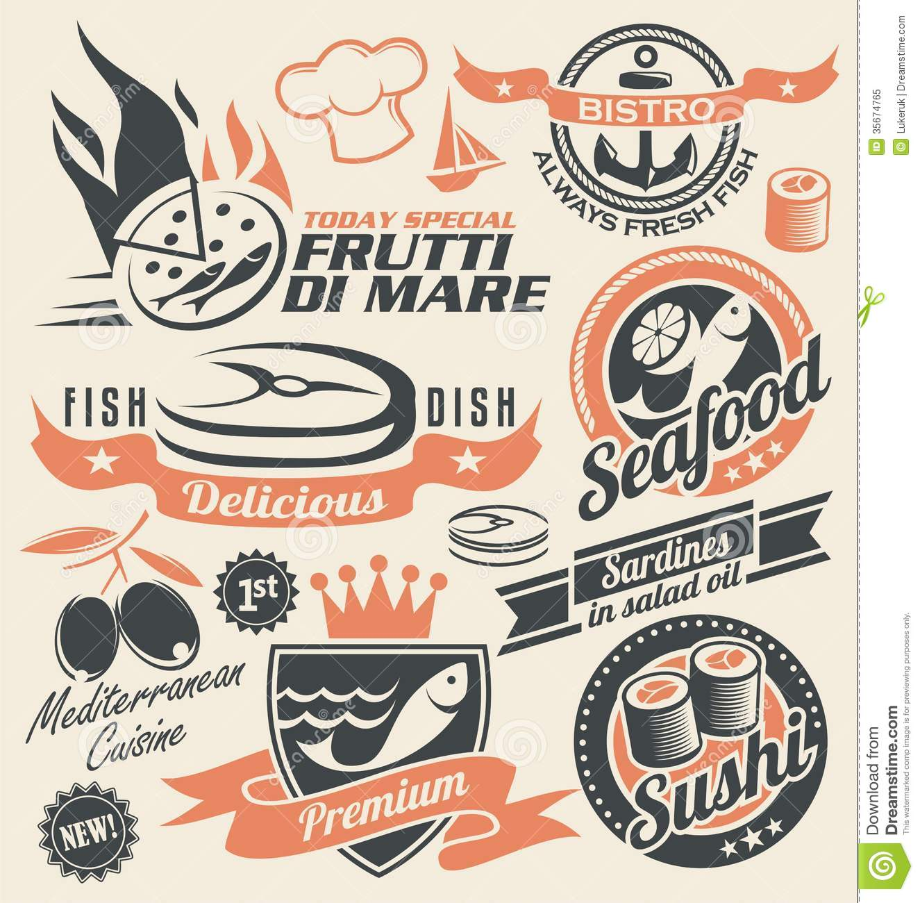 Retro design elements collection of badges, stickers and emblems for ...