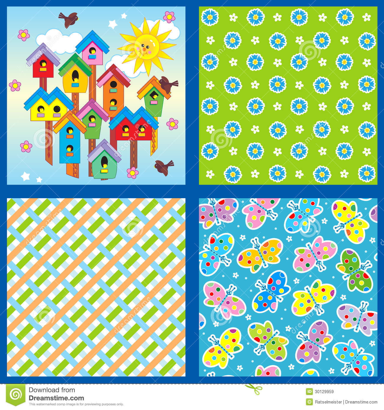Spring and summer seamless patterns or backgrounds