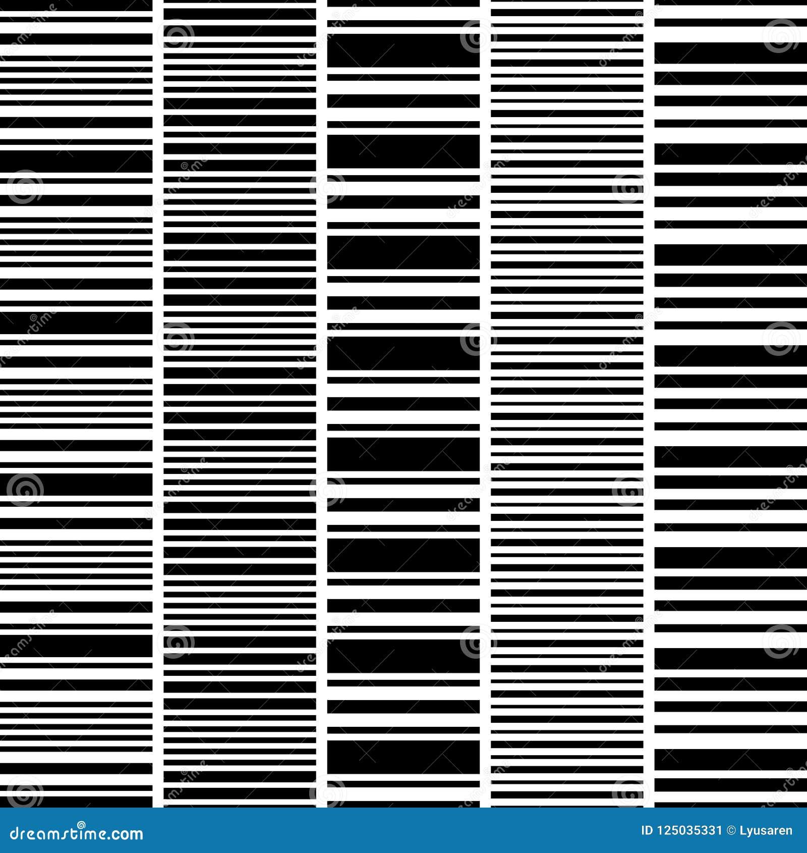 set of seamless black white horizontal stripes