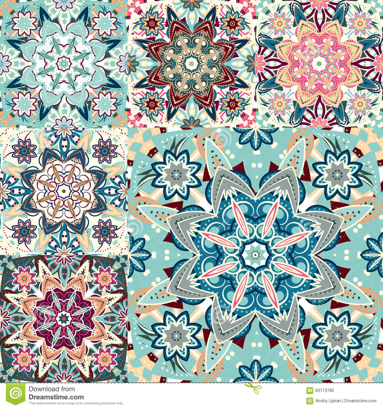Set Of Seamless Colorful Patterns In Oriental Style Islam