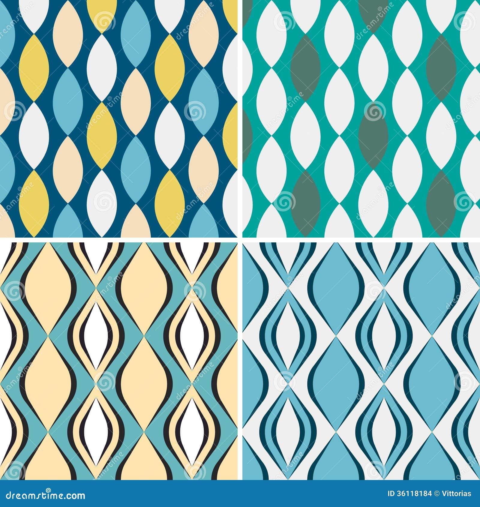 Set of seamless geometric patterns.