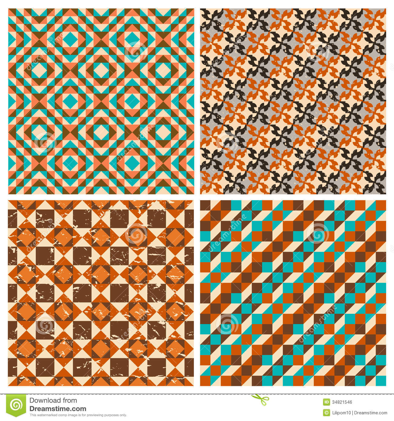 set of seamless geometric retro patterns stock vector image 34821546. Black Bedroom Furniture Sets. Home Design Ideas