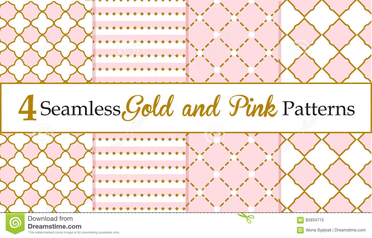 Set of Seamless Gold and pink Patterns. Baby girl patterns