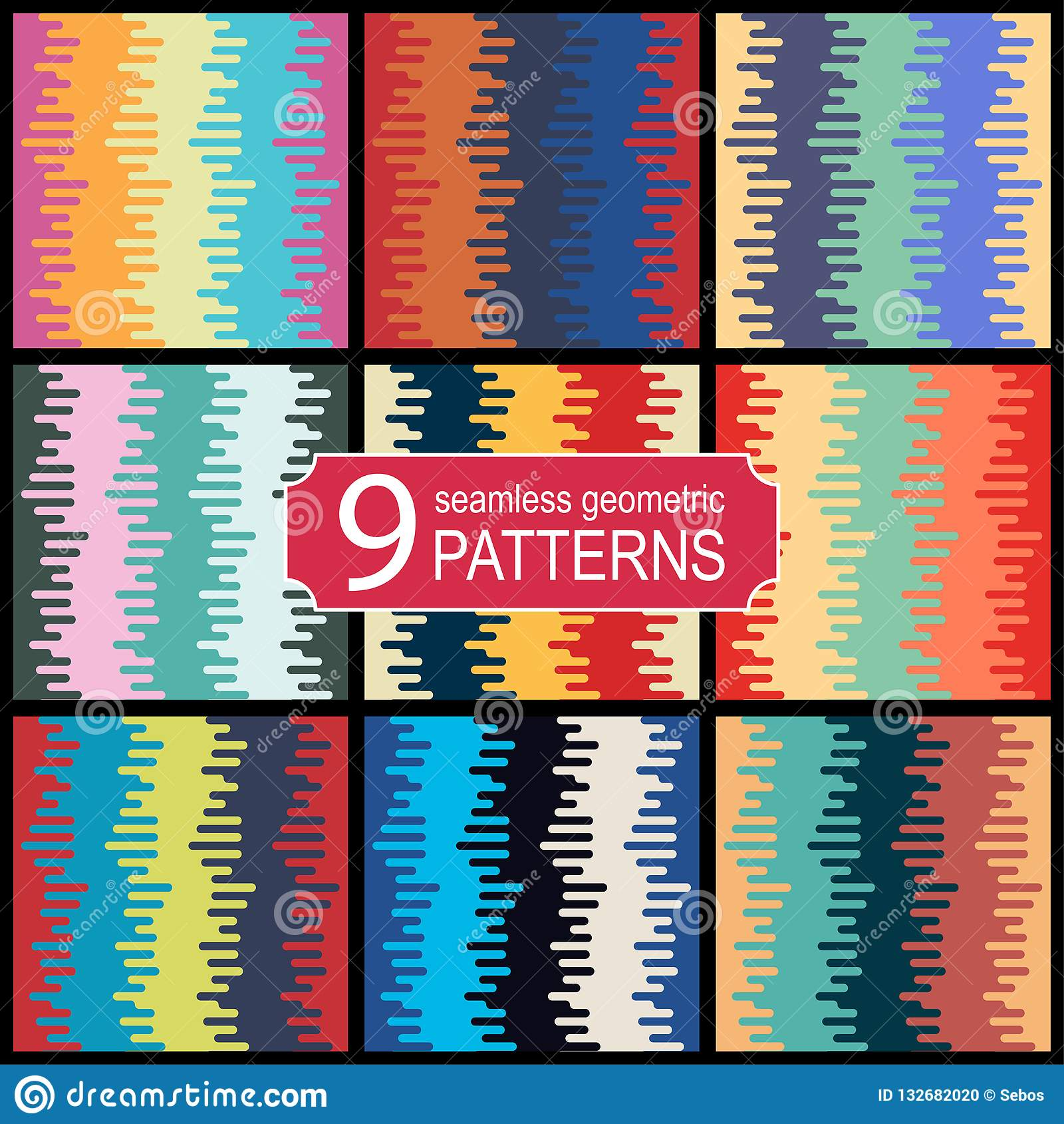 Set of seamless halftone transition vector patterns in retro color palette. Vintage fashion style.
