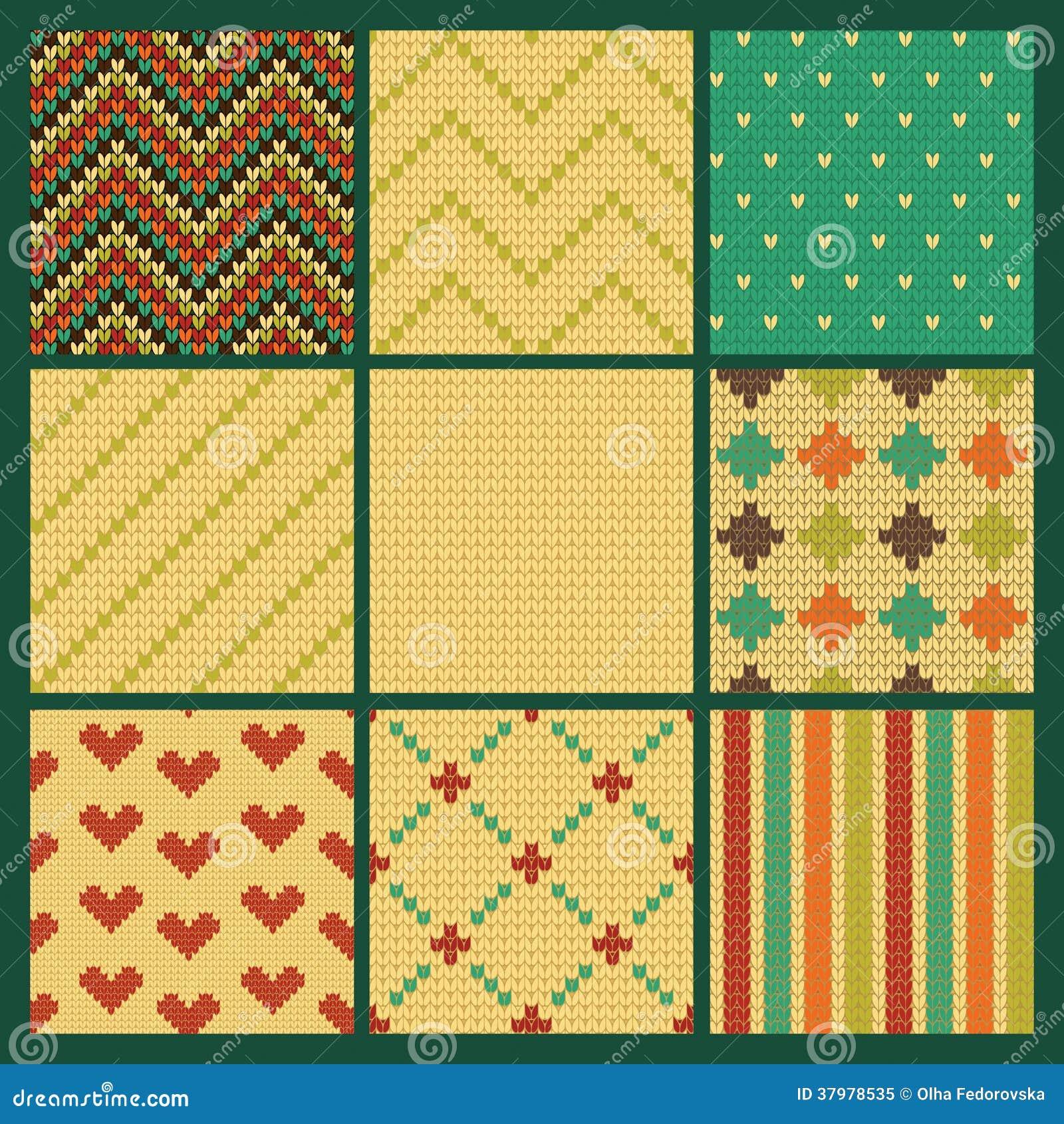 Set Of Seamless Knitting Patterns Royalty Free Stock Photo - Image: 37978535