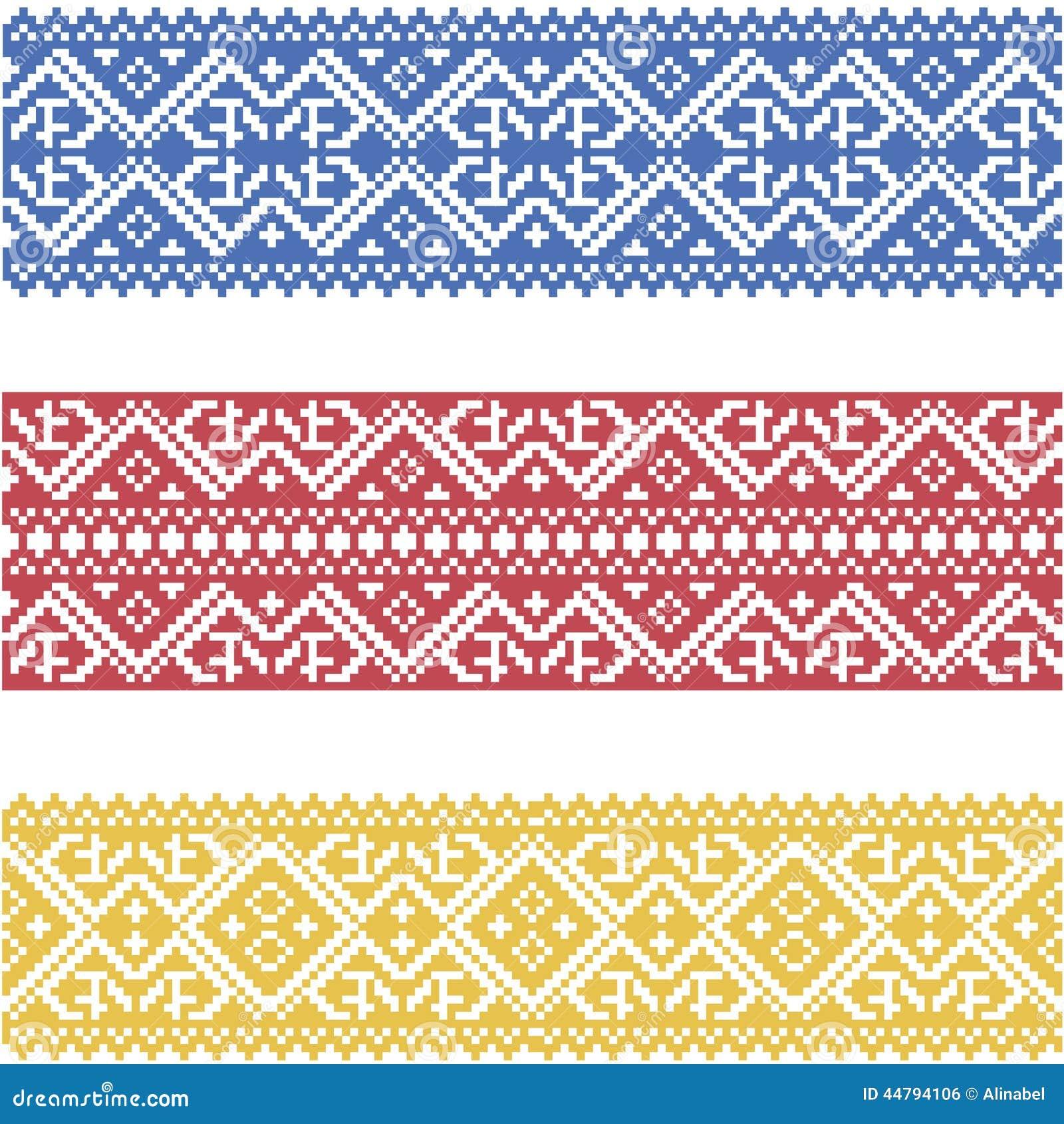 Set of seamless ornamented borders based on ukrainian