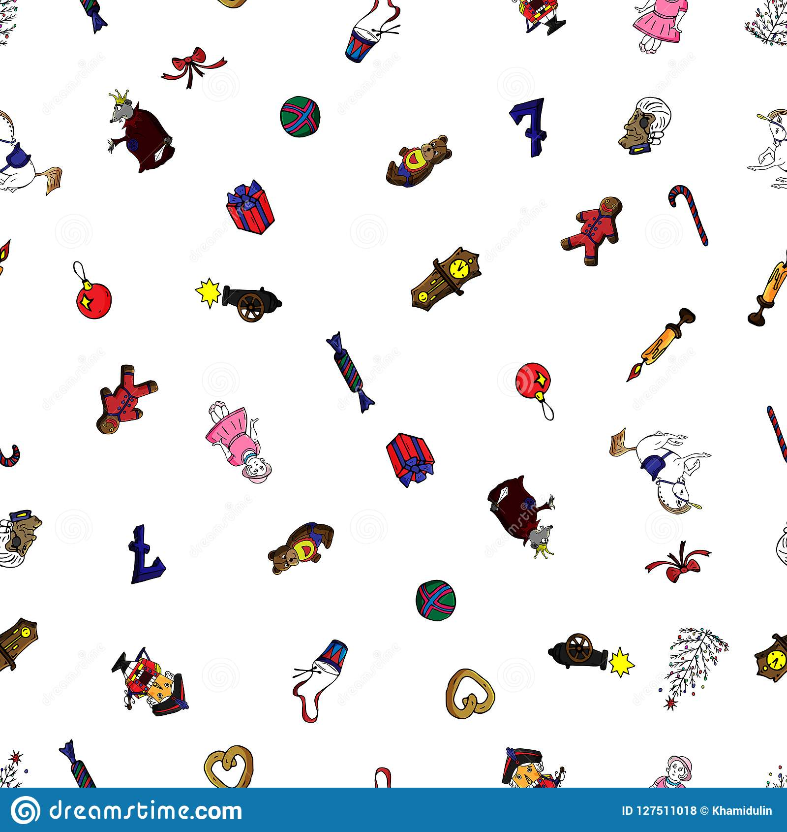 Set seamless pattern cartoon christmas characters for fairy tale Nutcracker. Can be used for web page background, fills