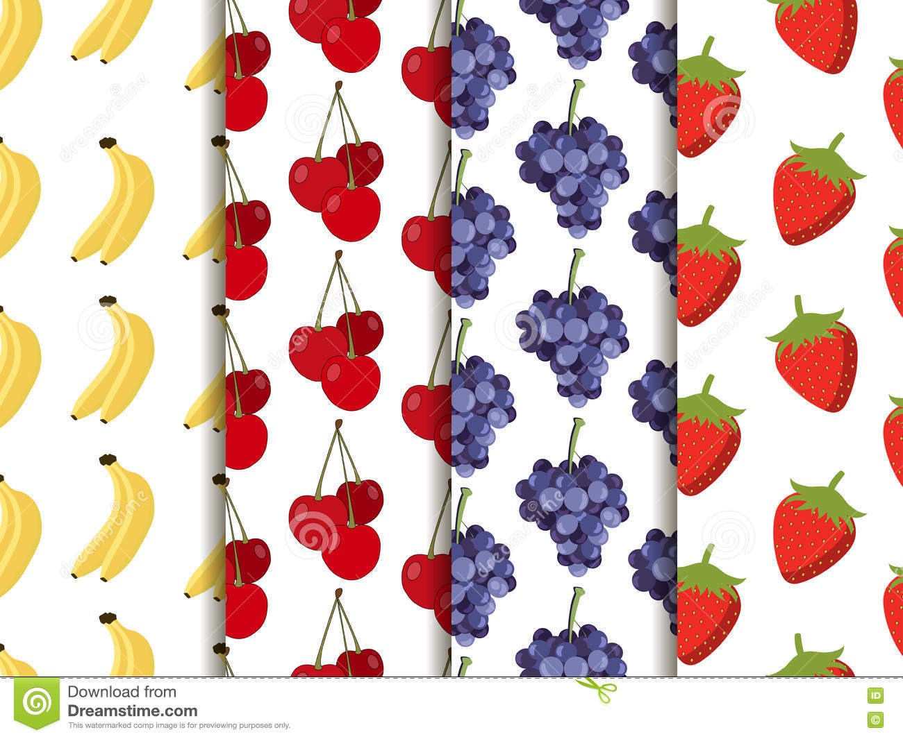 Set of seamless pattern with fruit. Pattern of bananas, cherries, strawberries and grapes.