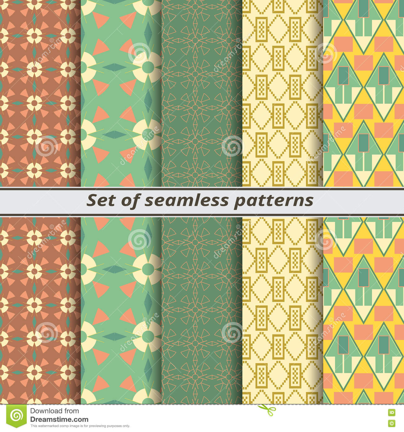Set of seamless patterns in American style