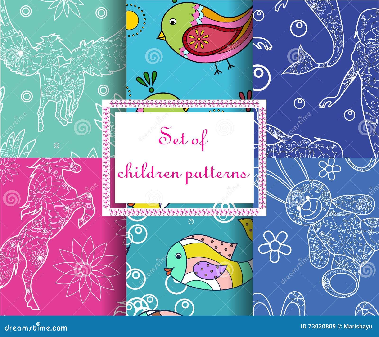 Set of seamless patterns childish