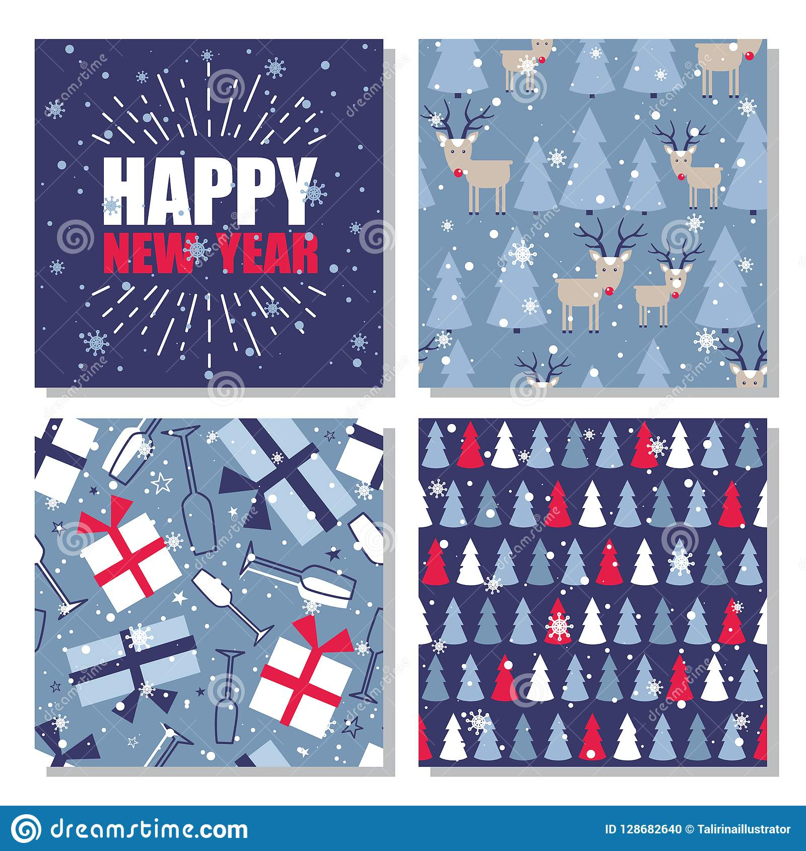 Set of seamless patterns with christmas trees, snow, deers