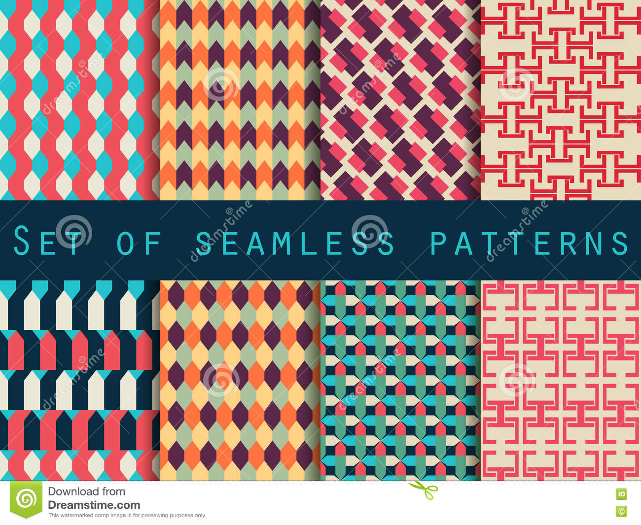 Set of seamless patterns with geometric shapes. Background pattern.