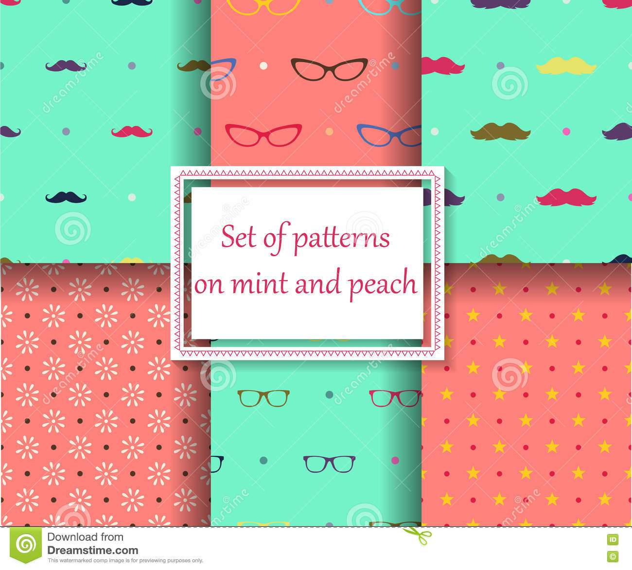 Set of seamless patterns on mint and peach colors