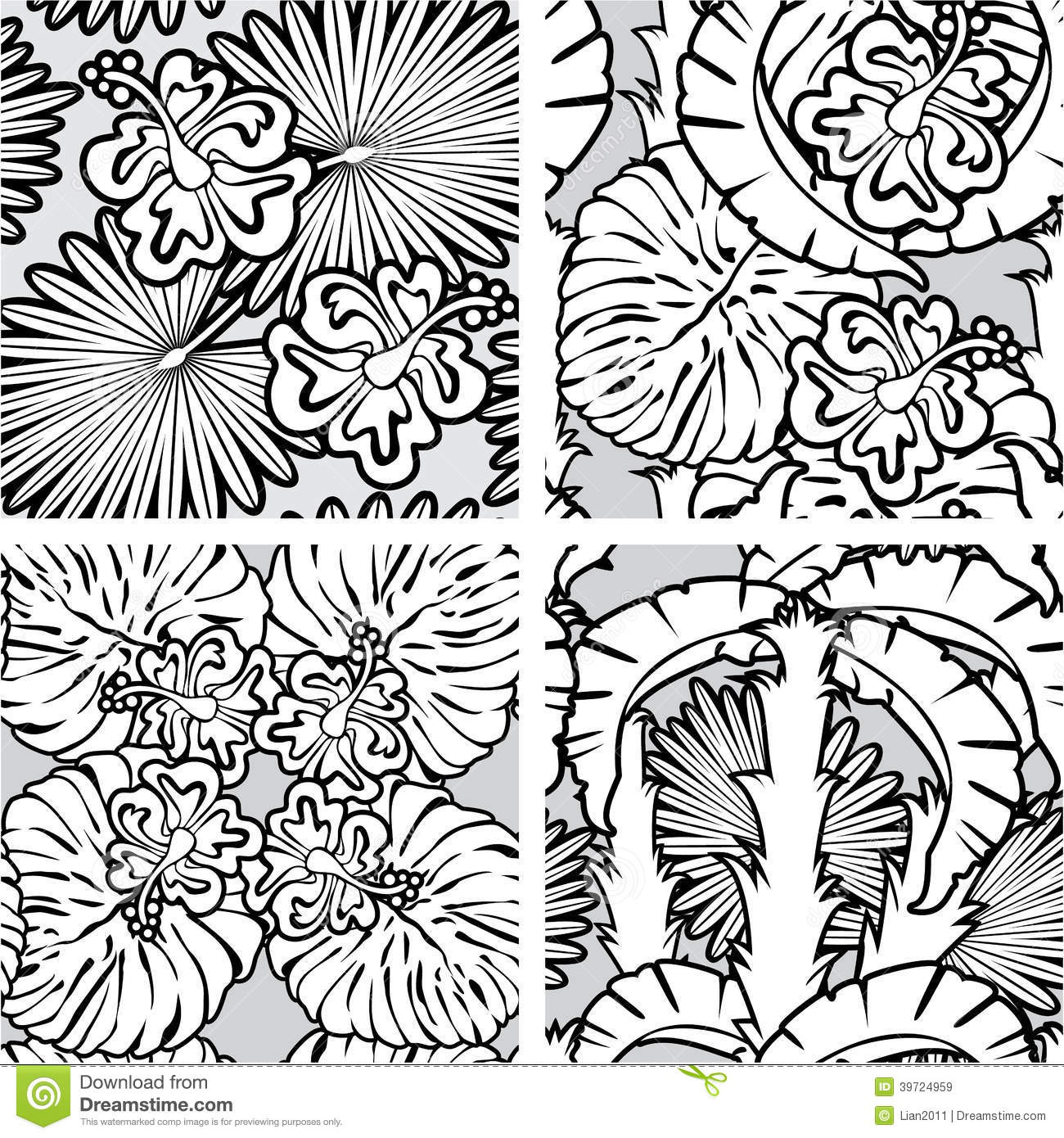 Set Of Seamless Patterns With Palm Trees Leaves Stock