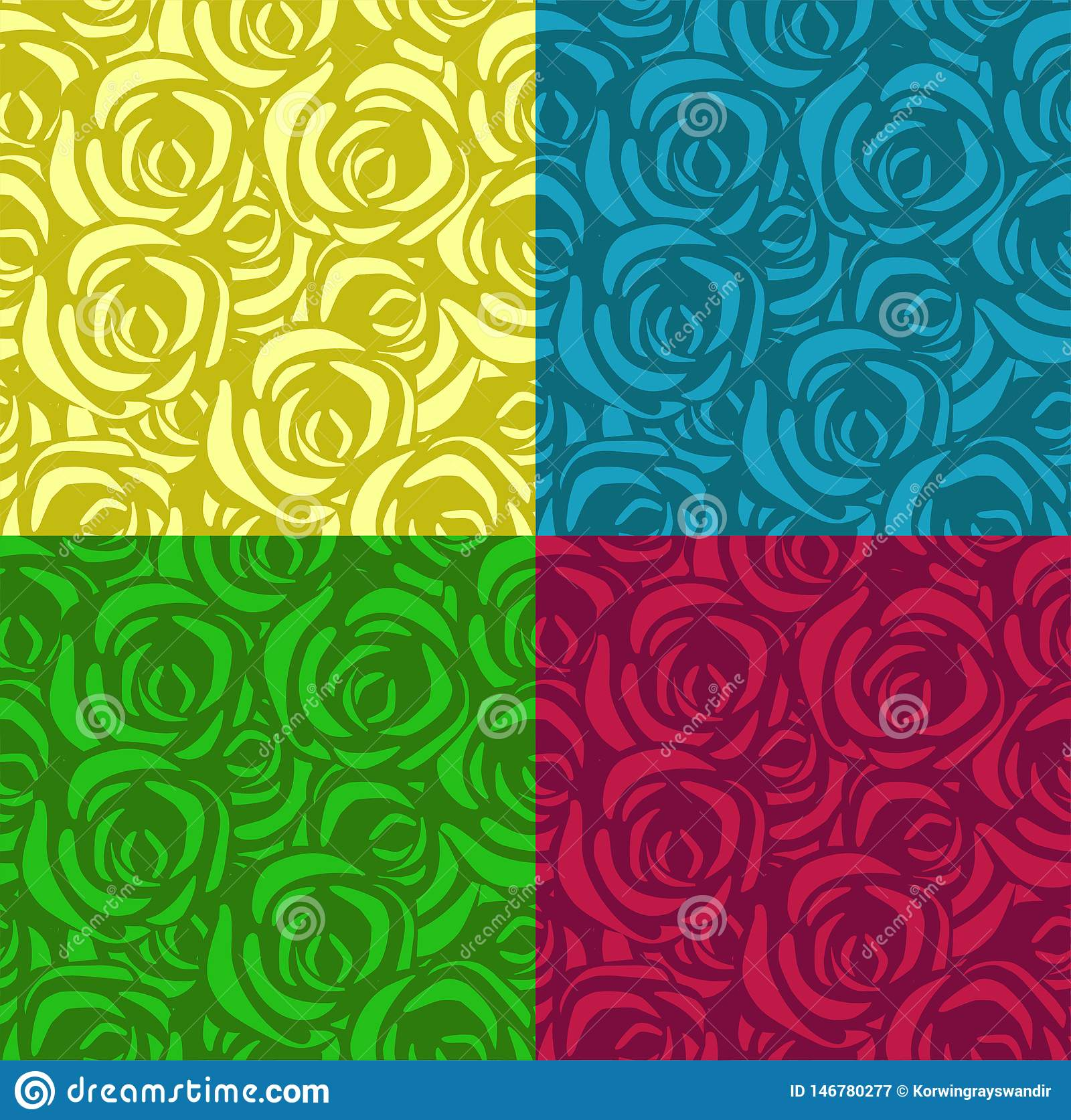 Set of seamless patterns with roses in different colors. Applicable for textiles, wrapping paper and other. Vector