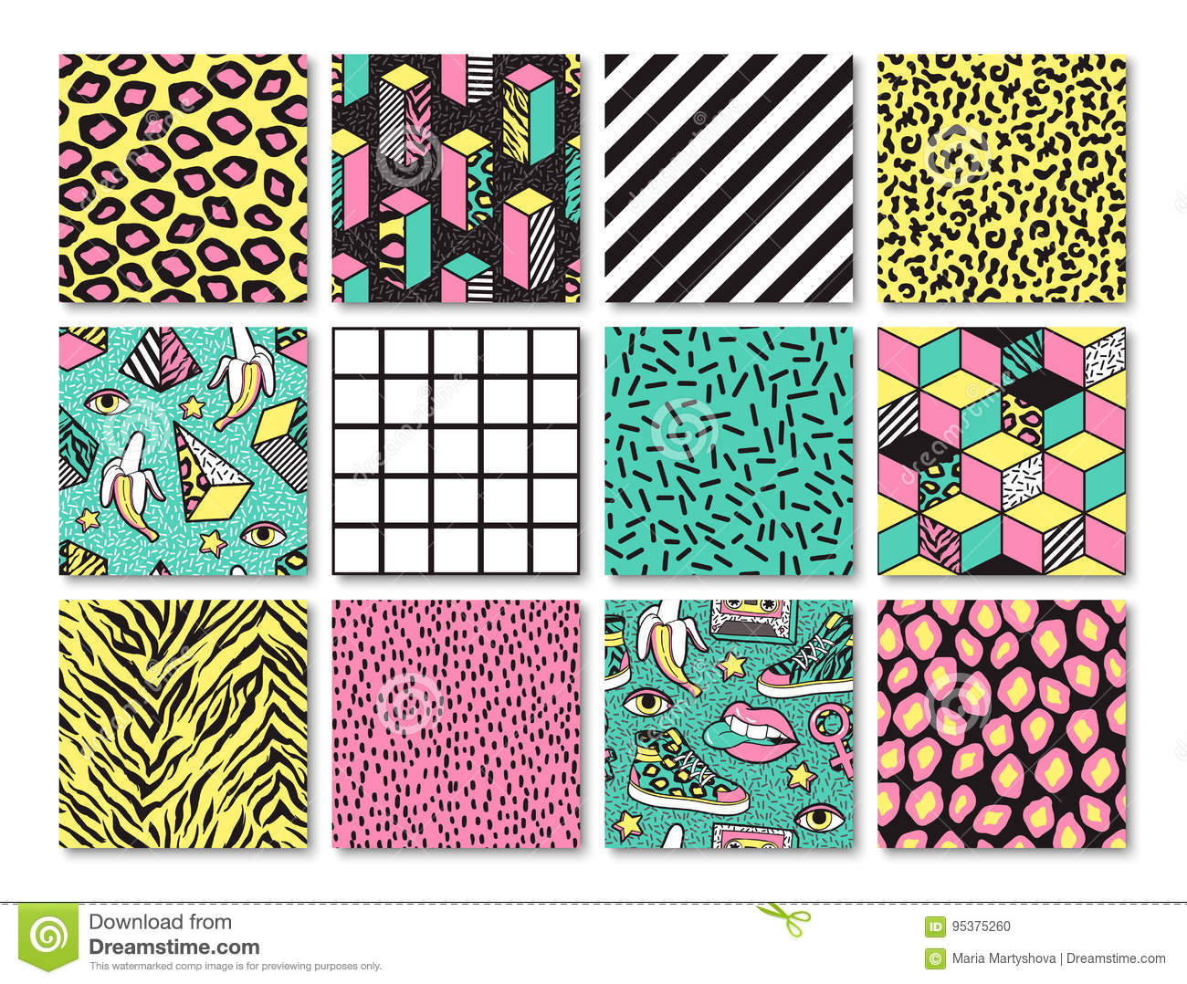 Set Of Seamless Patterns In 80s-90s Memphis Style  Stock