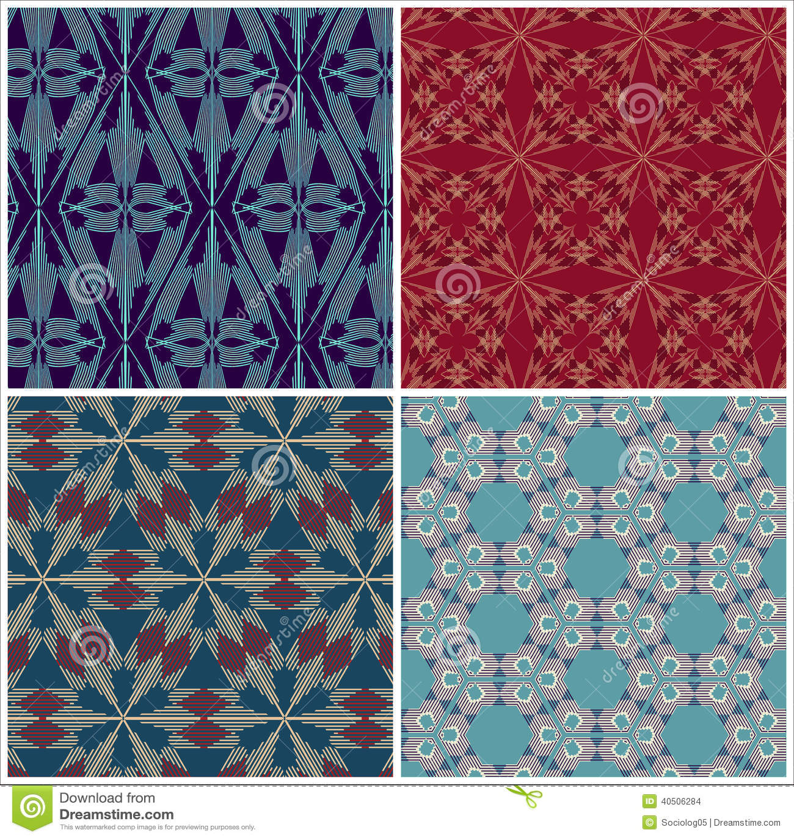Set of seamless patterns for tapestry, craftsmanship