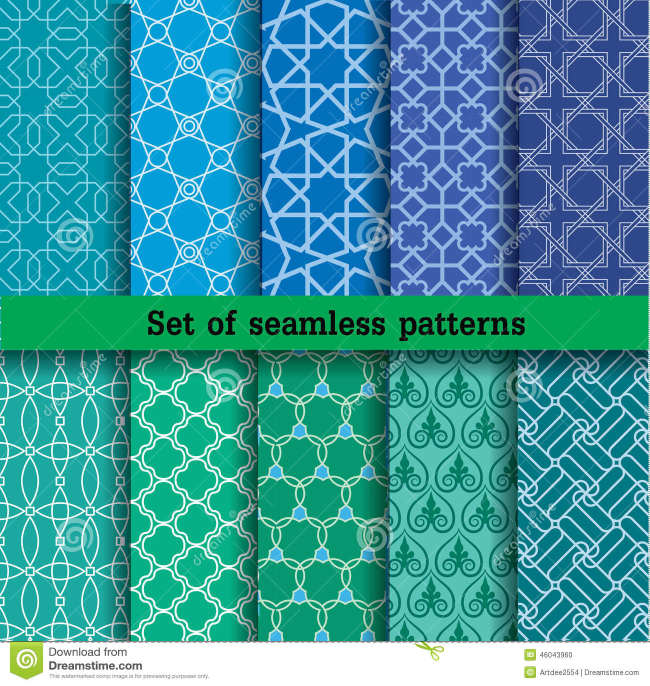 Set Of Seamless Patterns Used For Wallpaper Print