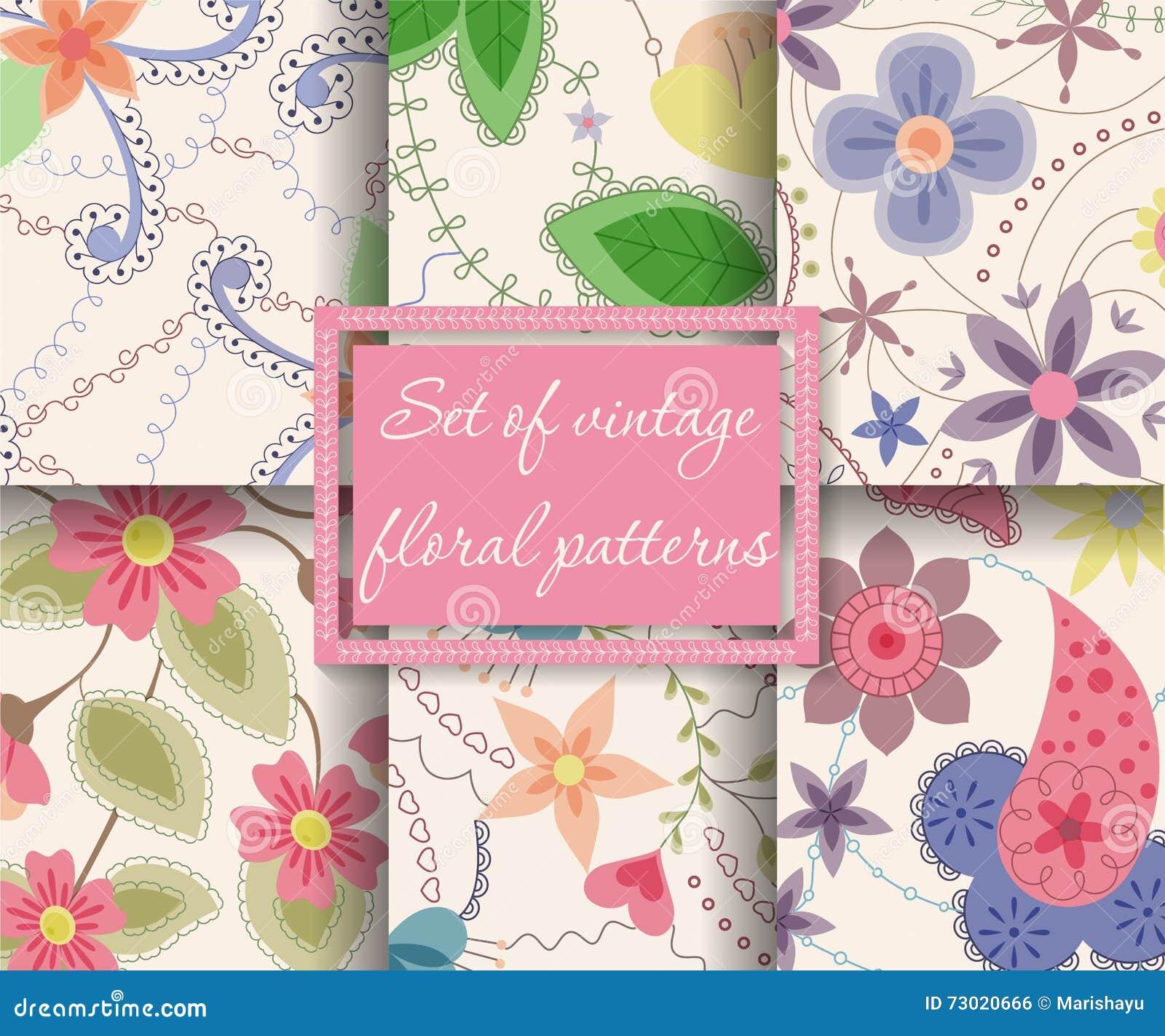 Set of seamless patterns vintage floral