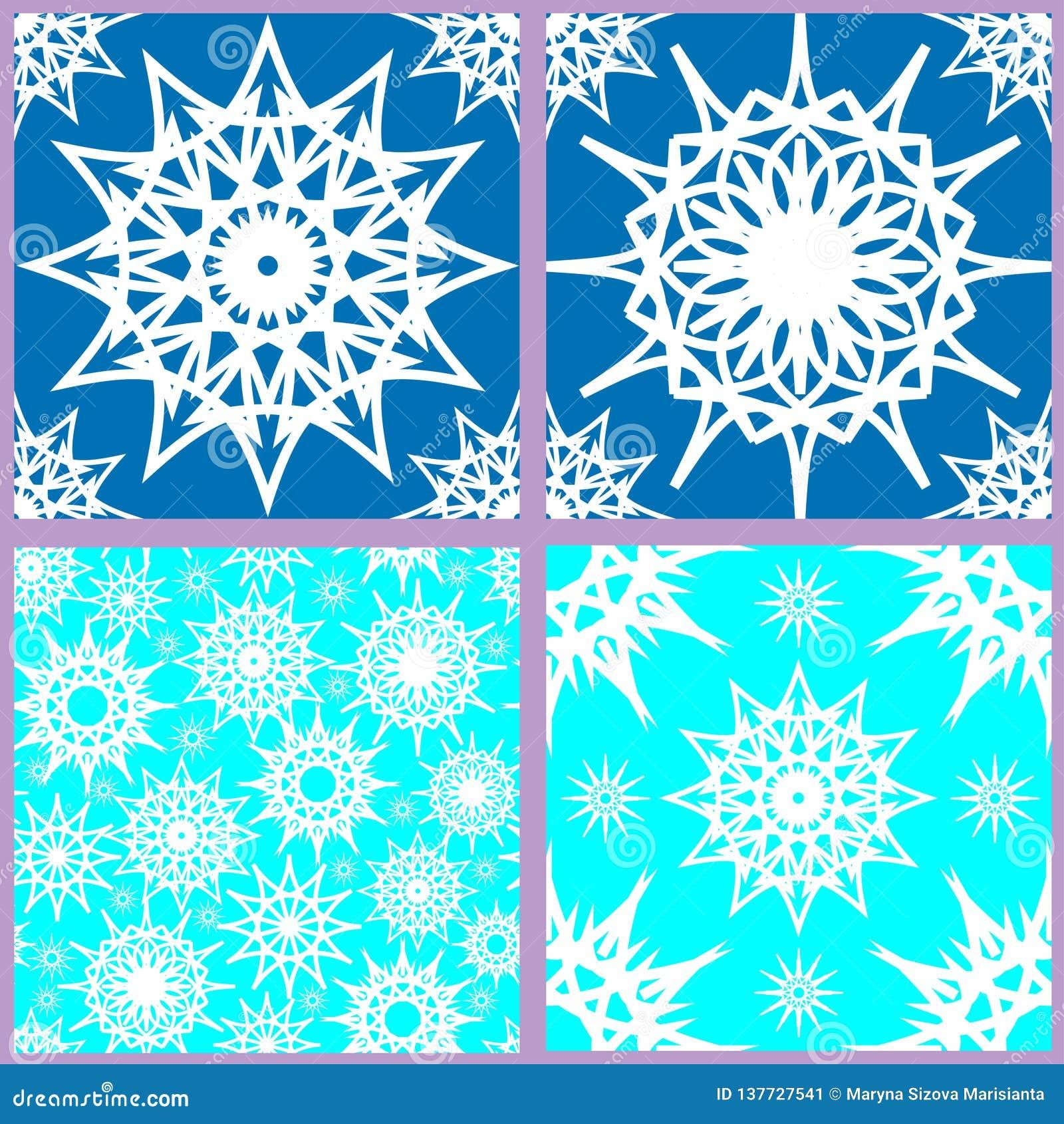 Set of seamless snowflake patterns
