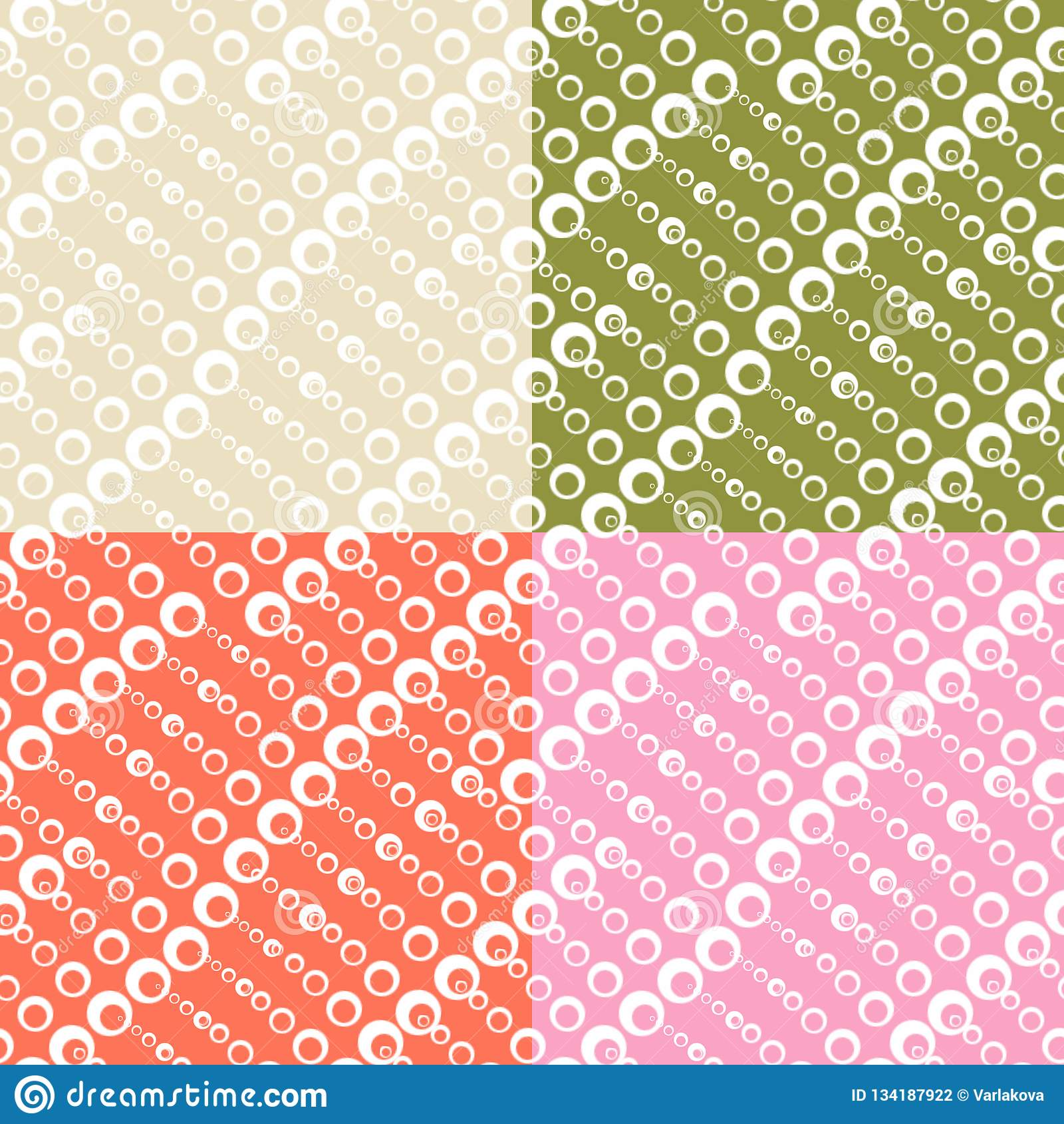 Set of seamless textures with circles of different sizes