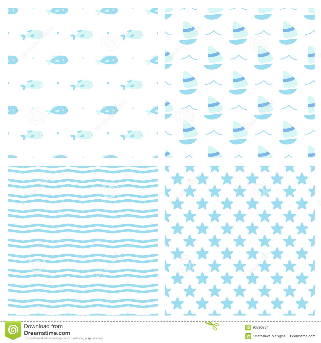 c685d3347a5e Set Of Seamless Vector Patterns For Baby Boy In Marine Style Stock ...
