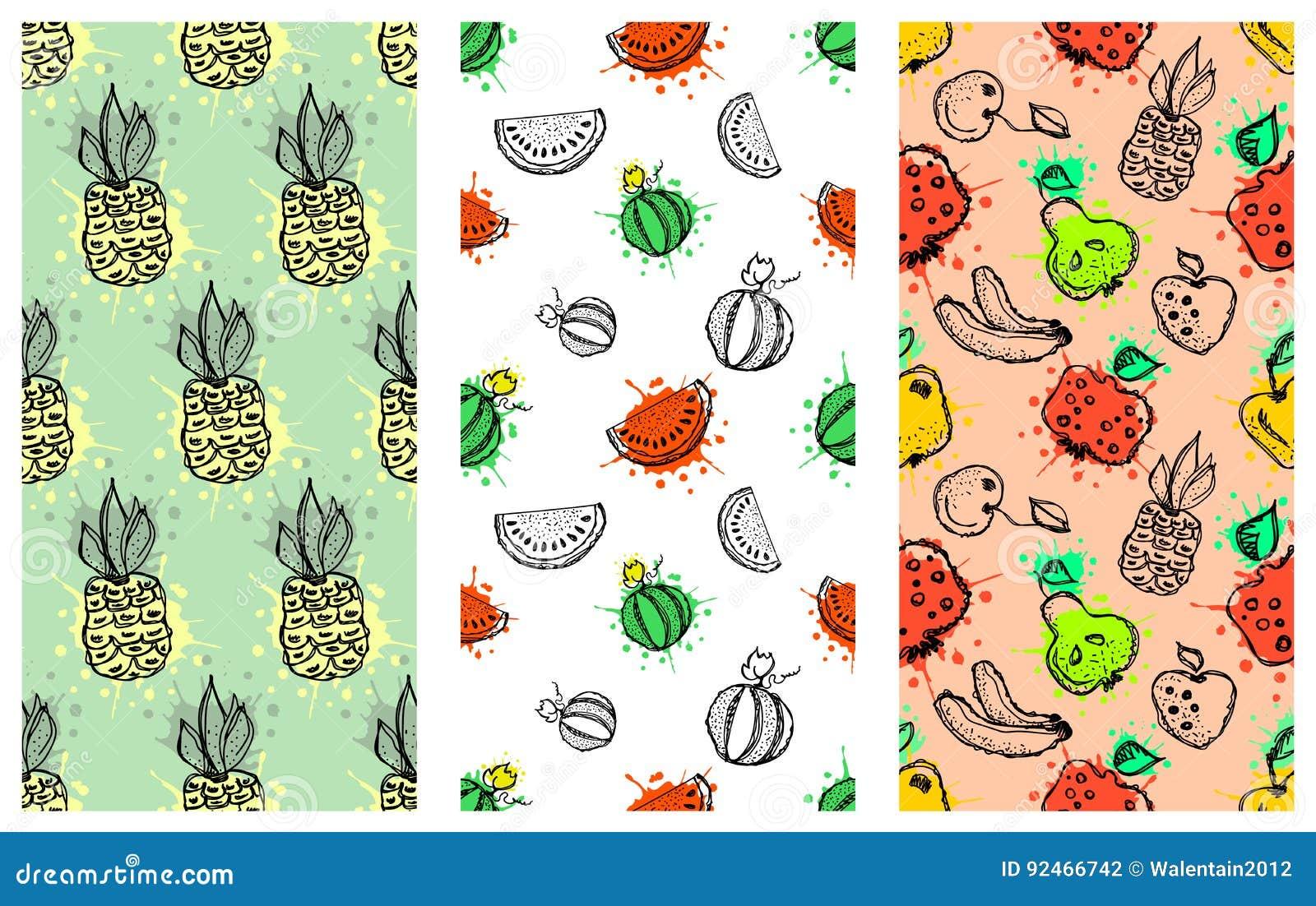 Set Seamless Vector Patterns Hand Drawn Fruits Illustration Colorful Cherry Apple Pear Watermelon Pomegranate Banana Berry Natural Fresh Fruit Juice Retro
