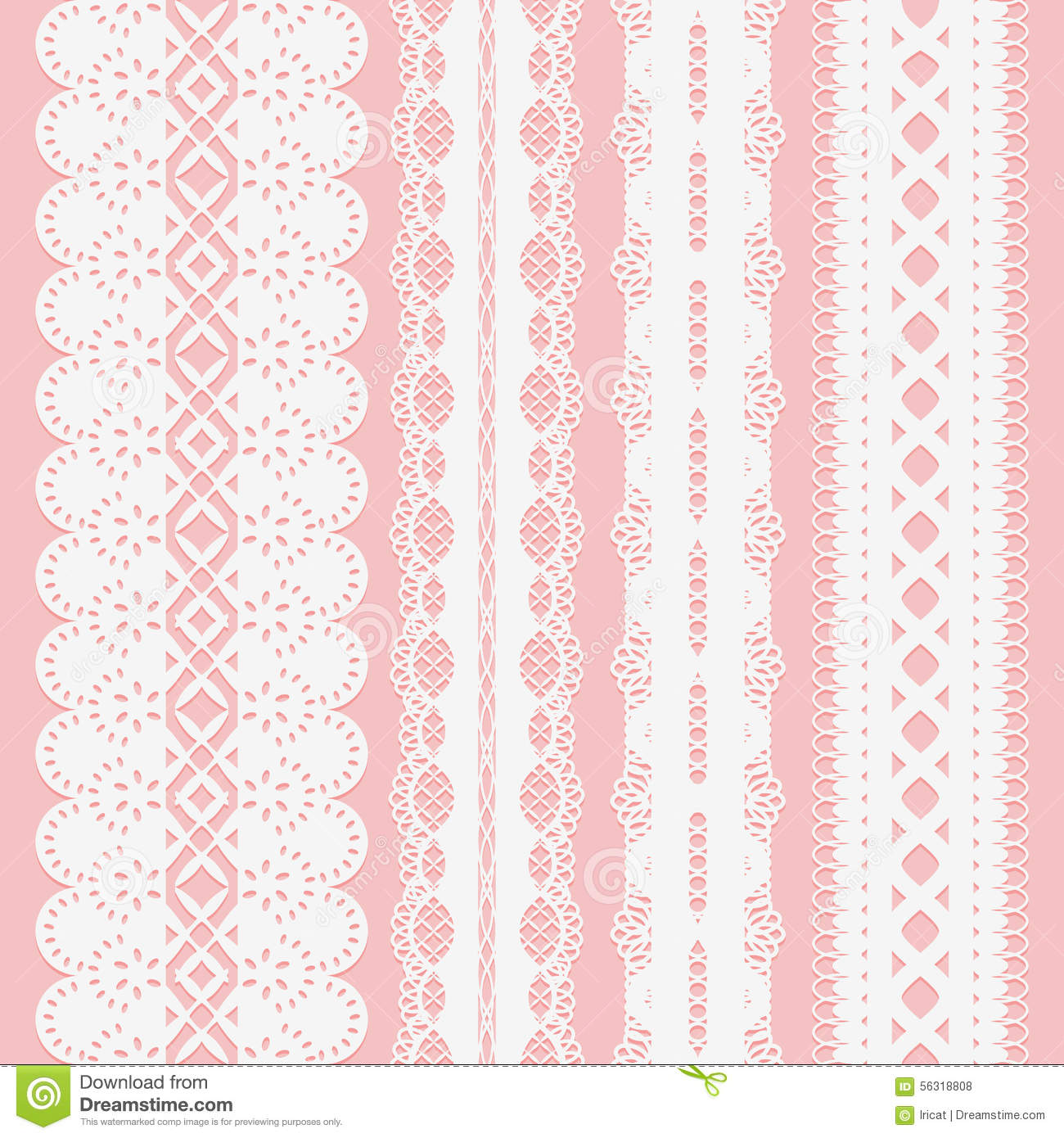 Set of seamless white lace ribbons on a pink background for scrapbooking.