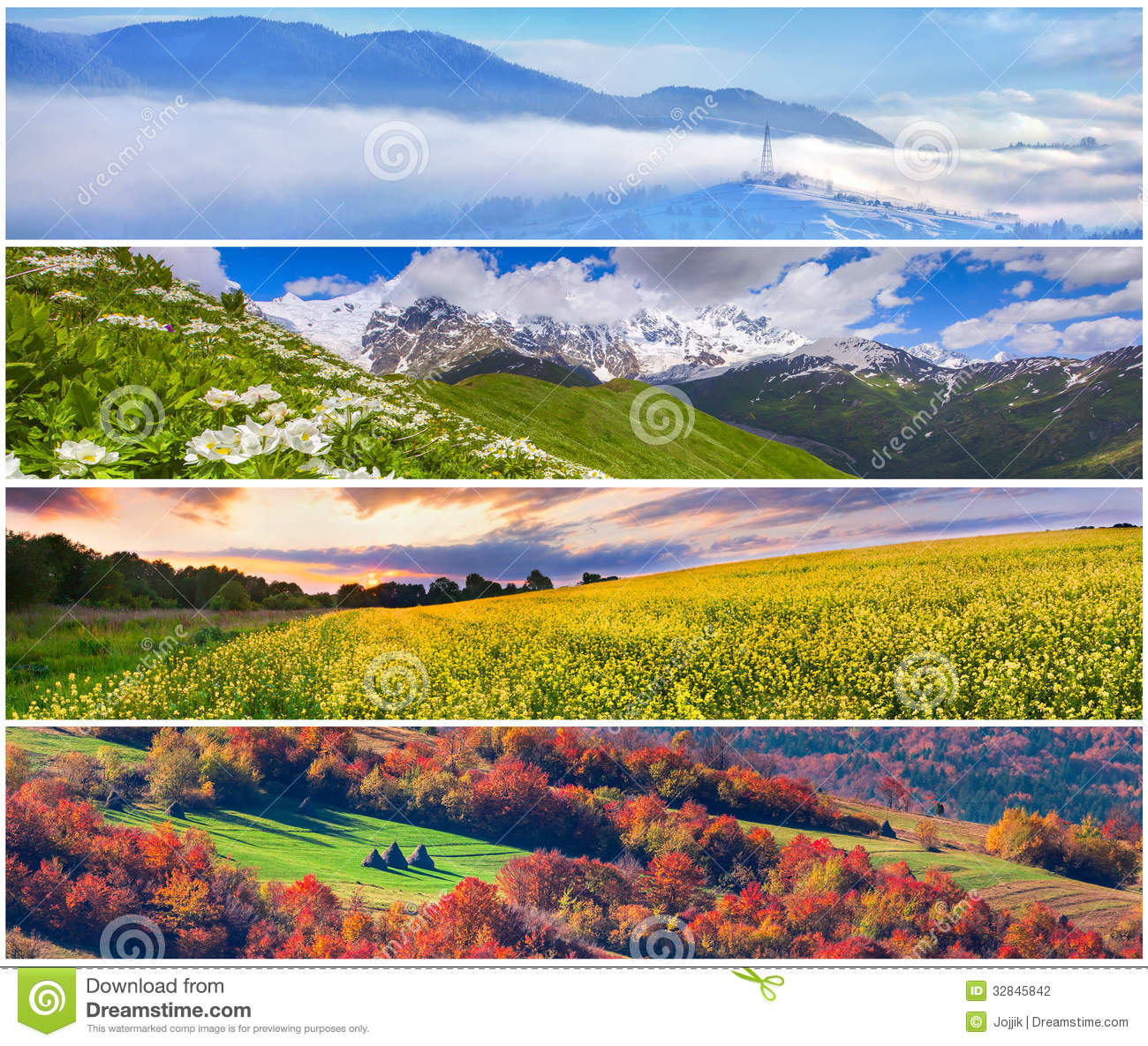 Set of the 4 seasons landscape for banners - Set Of The 4 Seasons Landscape Stock Photo - Image Of Panorama