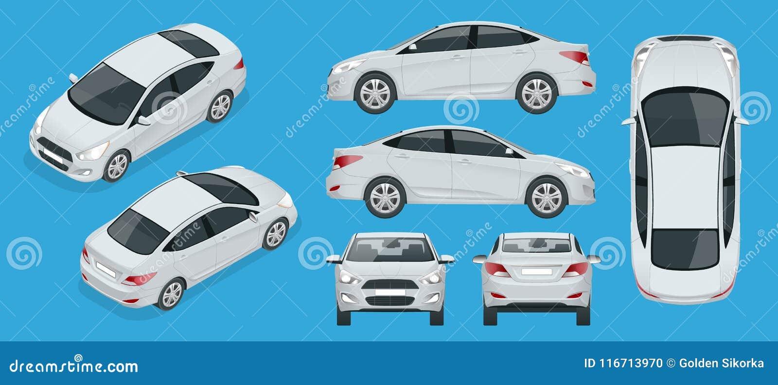 Set sedan samochody Ścisły Hybrydowy pojazd Życzliwy technika samochód Odosobniony samochód, szablon dla oznakować, reklamuje