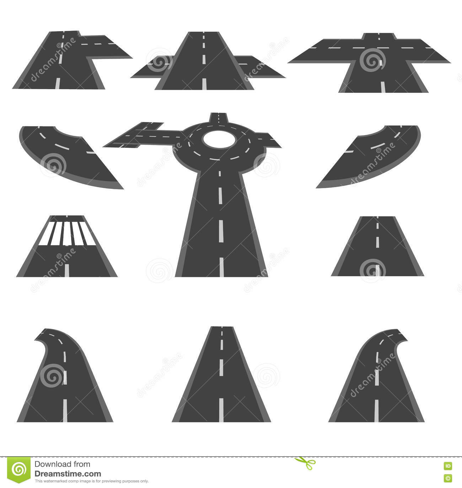 Set sekcje droga i rond skrzyżowania w innej perspektywie ilustracja