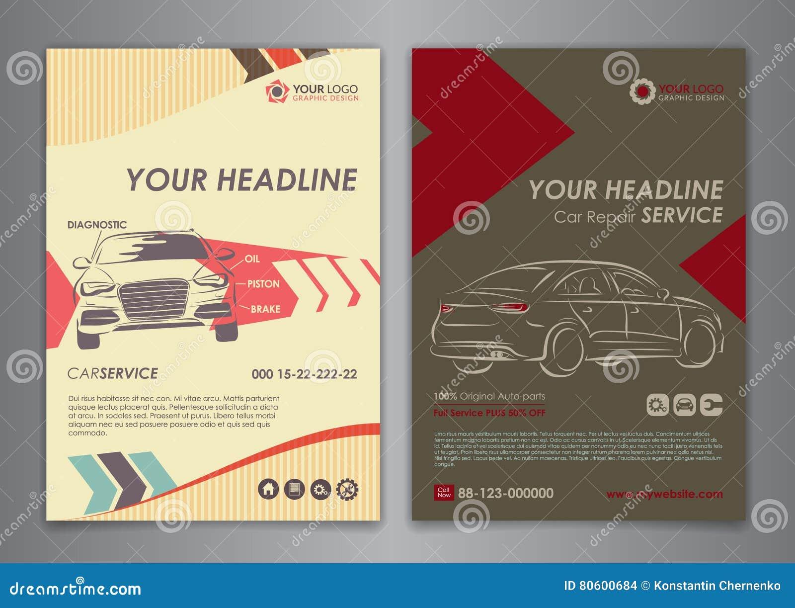 set a5 a4 service car business layout templates auto repair brochure templates automobile. Black Bedroom Furniture Sets. Home Design Ideas