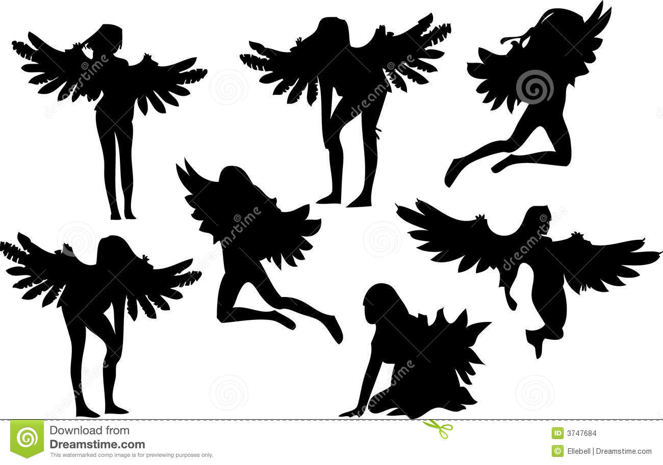 Set Of Seven Angel Silhouettes Stock Images Image 3747684