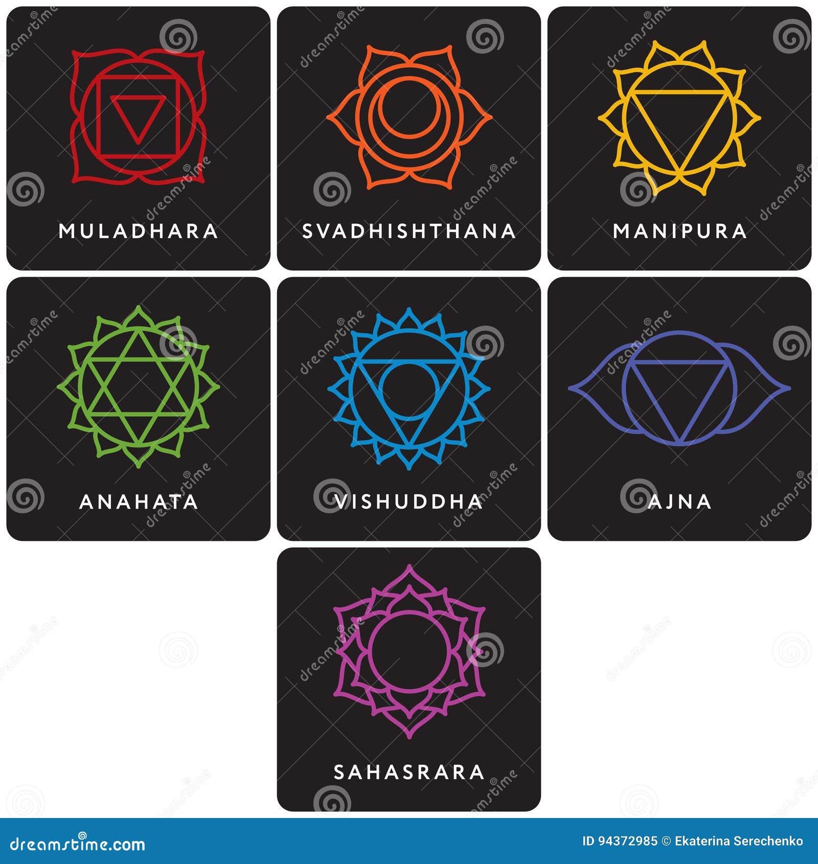 Set Of Seven Chakra Symbols. Yoga, Meditation Vector ...