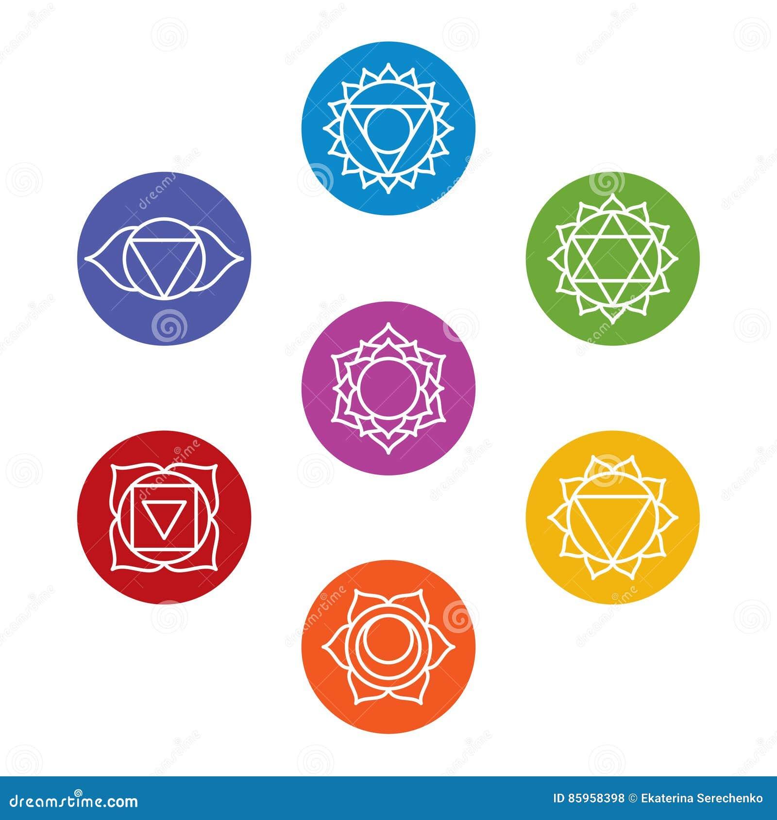 Set Of Seven Chakra Symbols Yoga Meditation Stock Vector
