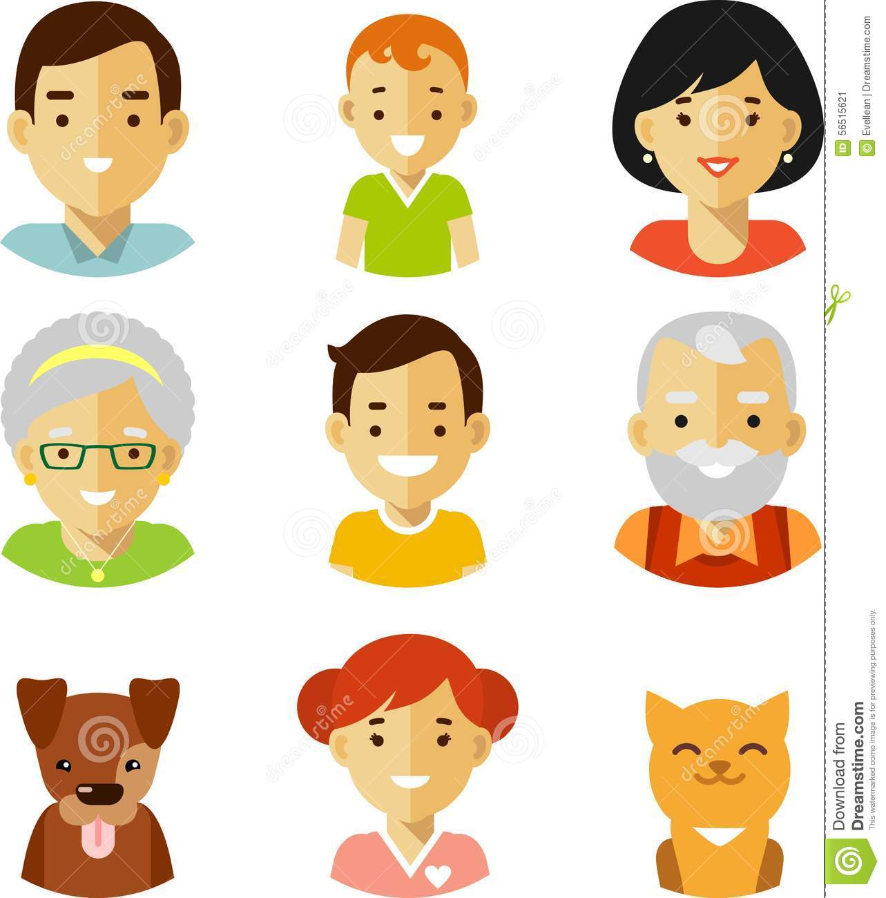 Set Of Seven Family Members Avatars Icons In Flat Style Stock Vector ...