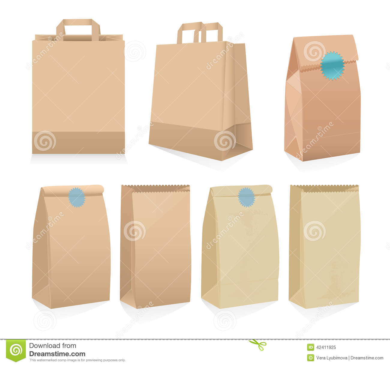 Set Of Seven Recyclable Brown Paper Bags Stock Vector