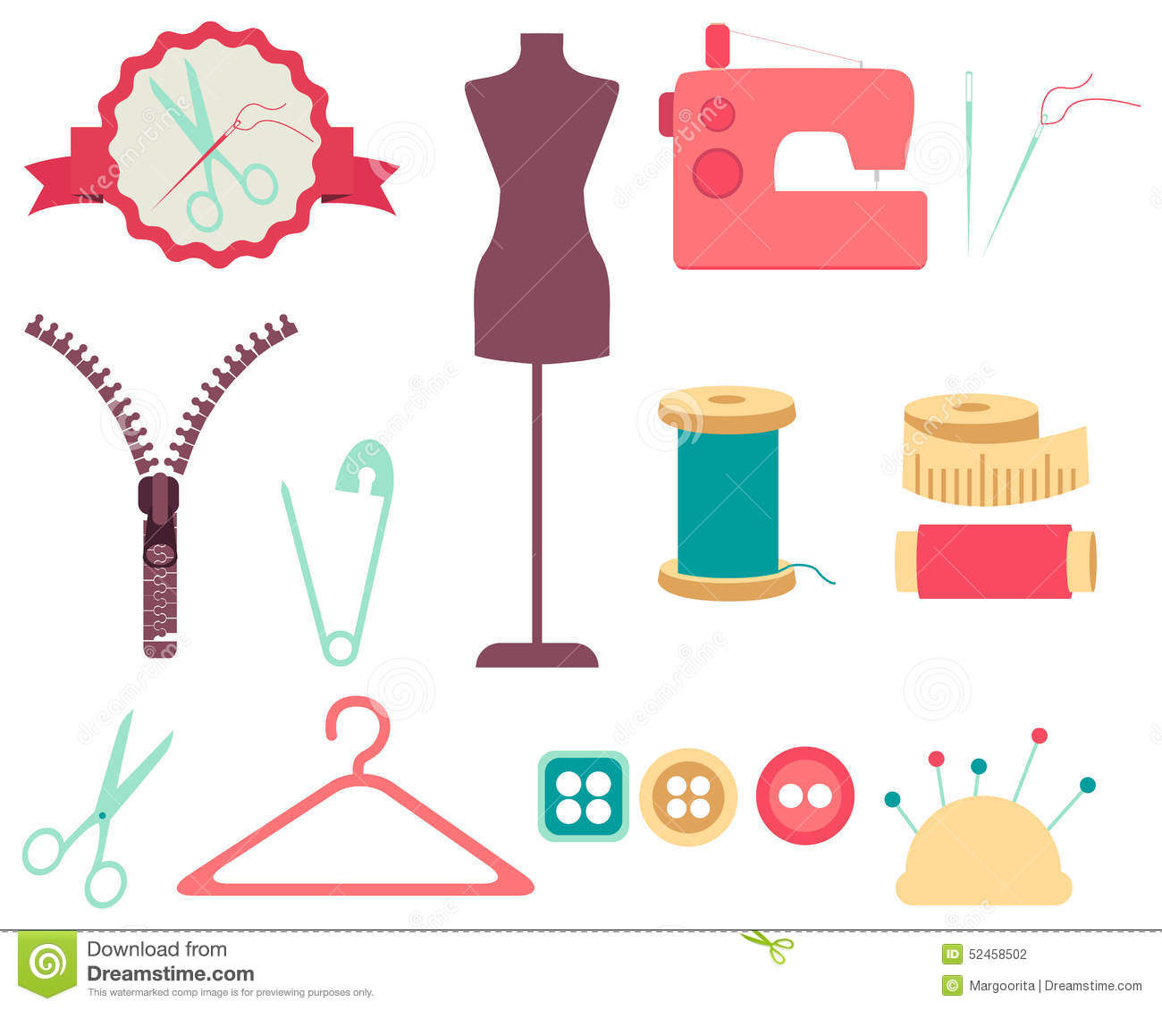 Set Of Sewing Tools And Accessories Stock Vector - Image ...