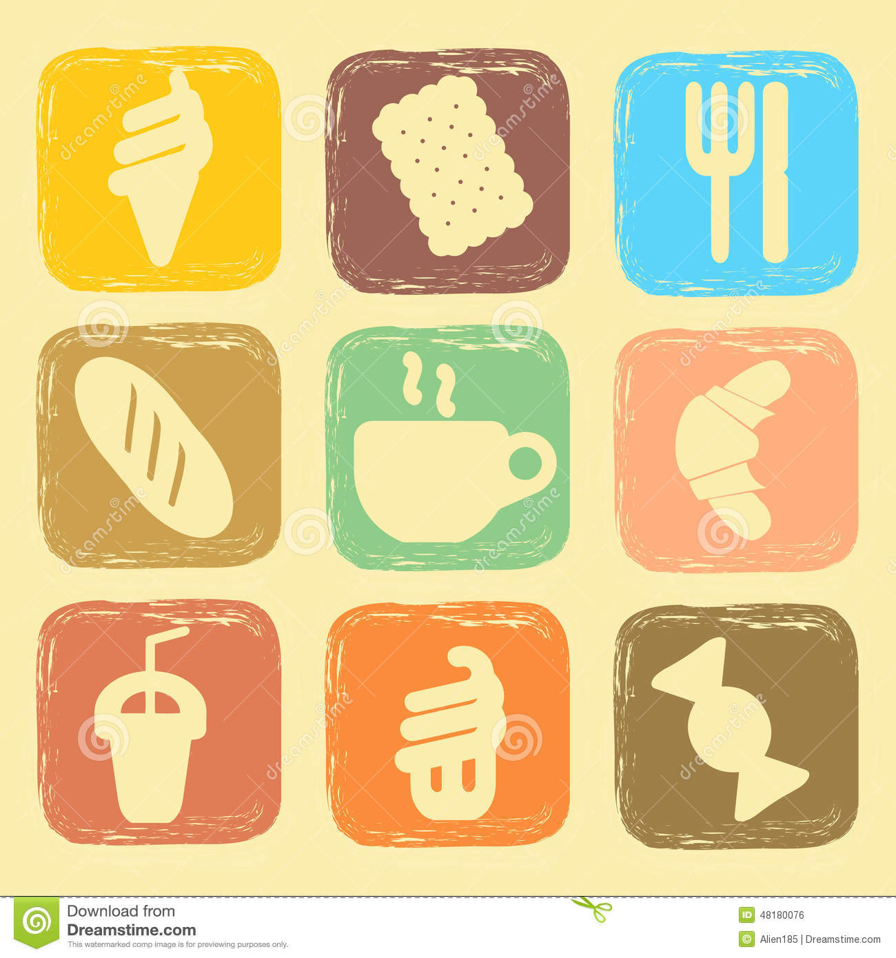 Set Of Shabby Icons Stock Vector Image 48180076