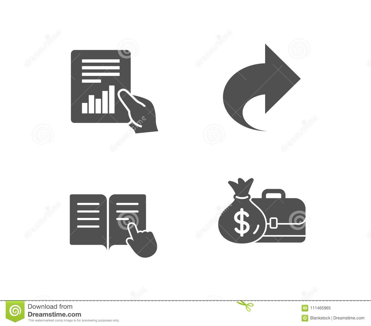 Share  Read Instruction And Document Icons  Salary Sign