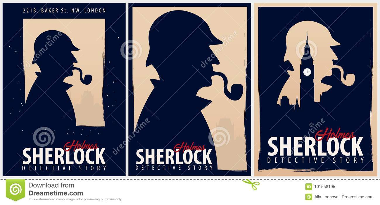 set of sherlock holmes posters detective illustration illustration with sherlock holmes baker street 221b london big ban