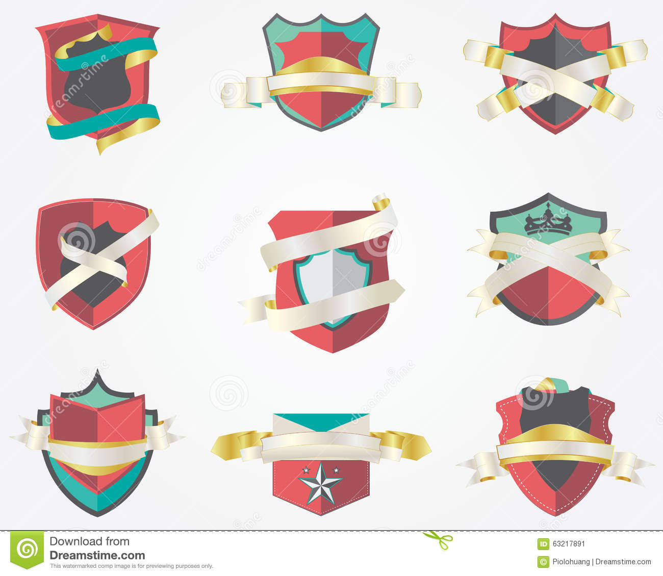 Set Of 9 Shield Badges Design Template Stock Vector