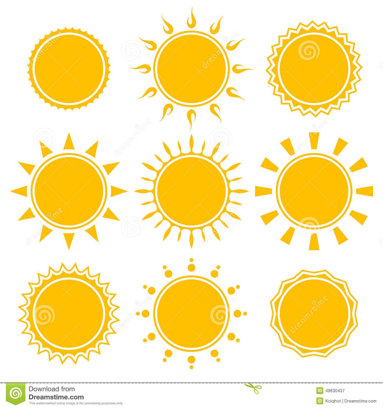 Set of shiny bright yellow sun isolated on white background. vector ...