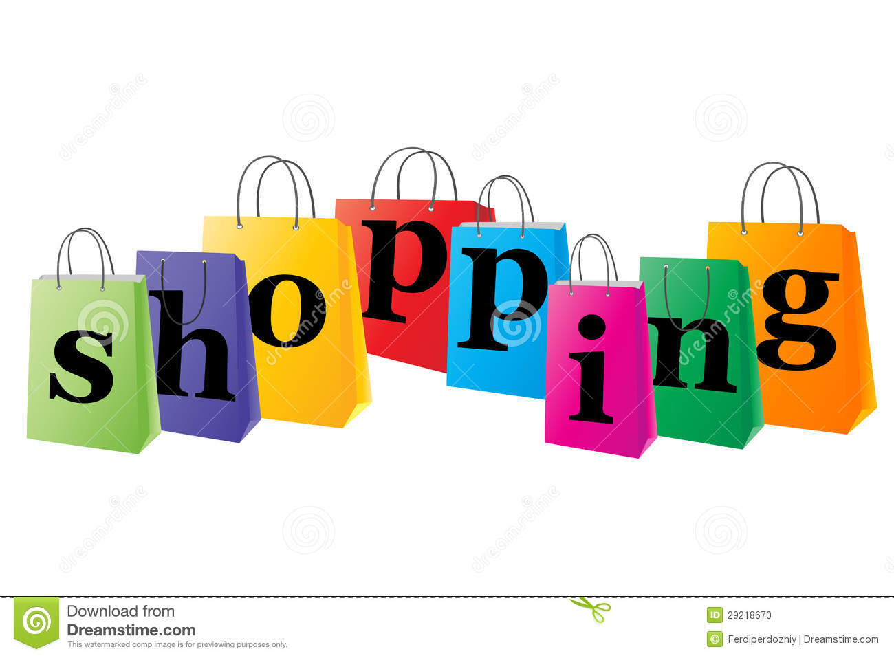 Set Of Shopping Bags With The Word Shopping Stock Photo - Image ...
