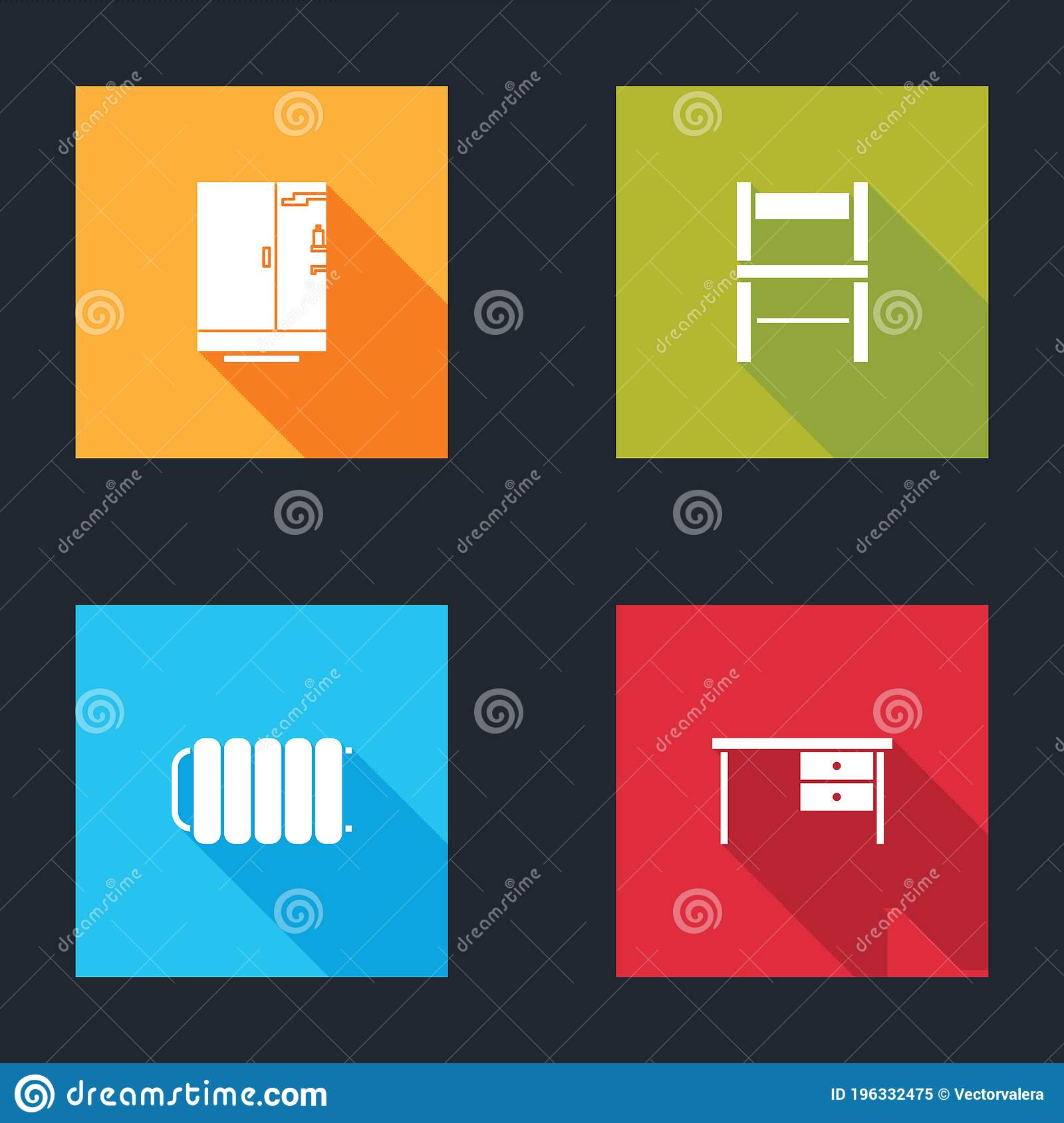 Set Shower Cabin Chair Heating Radiator And Office Desk Icon Vector Stock Vector Illustration Of Business Heat 196332475