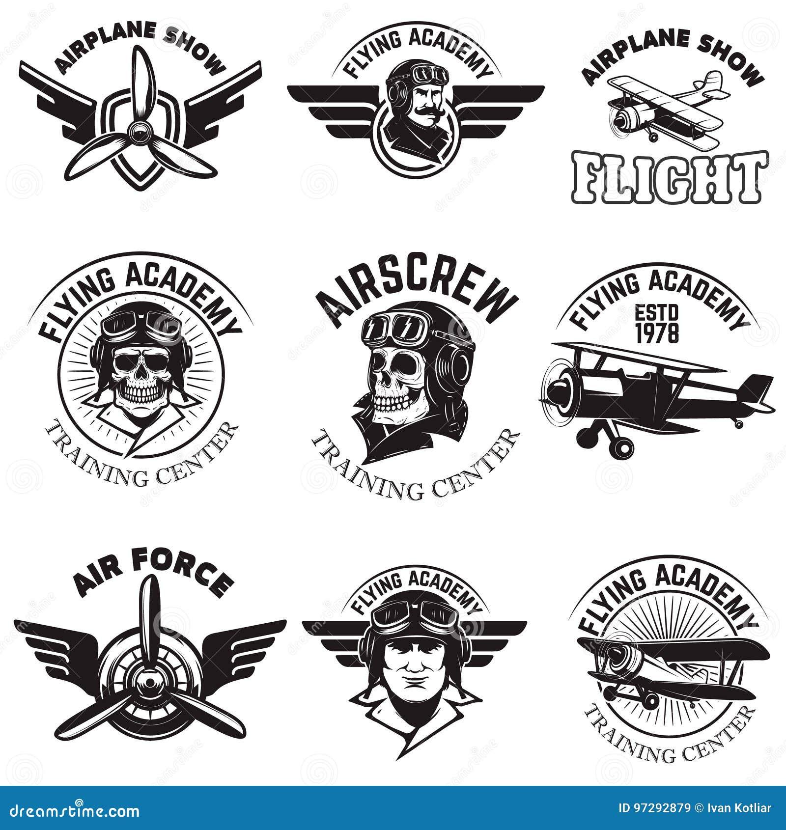 Set siły powietrzne, samolotowy przedstawienie, latający akademia emblematy Rocznik