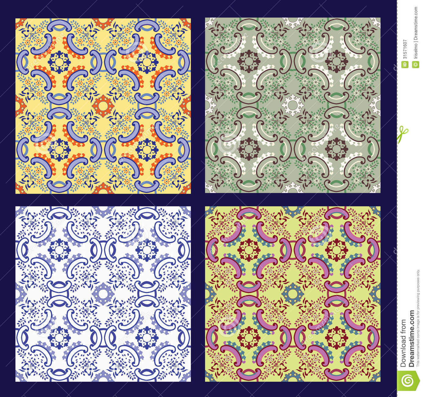 Set Of 4 Sicilian Tiles Royalty Free Stock Photography