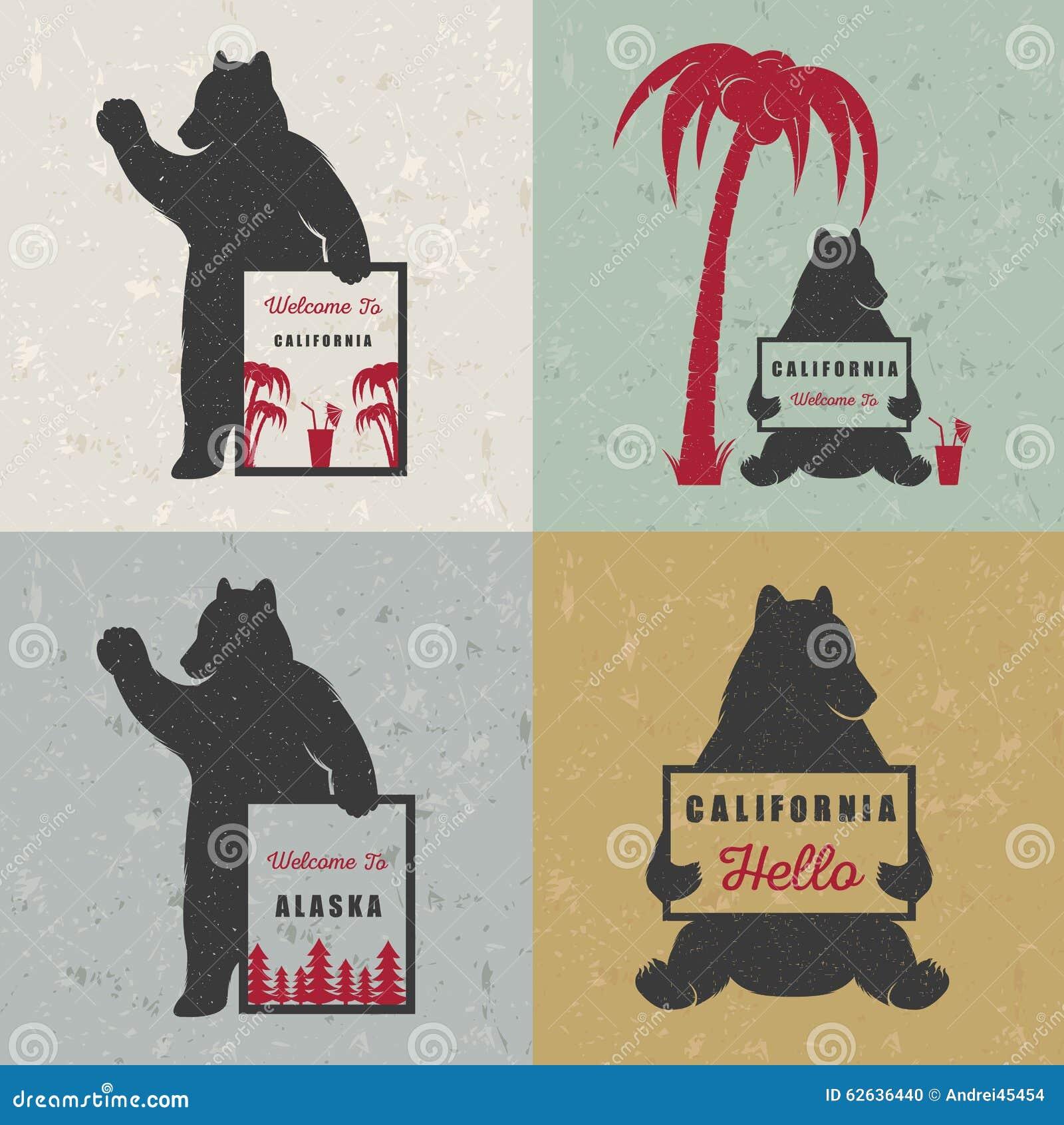 Set Sign Fun Bears Stock Illustration Of Design